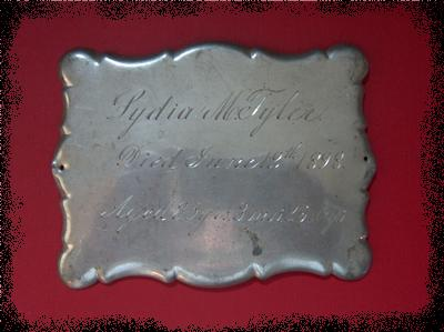 The Free Genealogy Death Record on the Coffin Plate of Lydia M Tyler 1863 ~ 1898