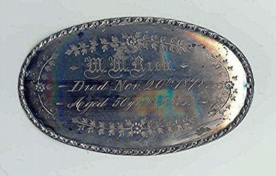 Birth & Death Record on the Coffin Plate of M. M. Rich 1828~1878 is Free Genealogy