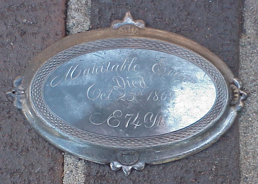 Free Genealogy Death Record on the Coffin Plate of Mahitable Evans 1795 ~ 1869