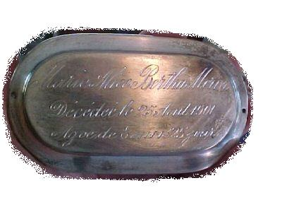 The Free Genealogy Death Record on the Coffin Plate of Marie Alice Bertha Morin