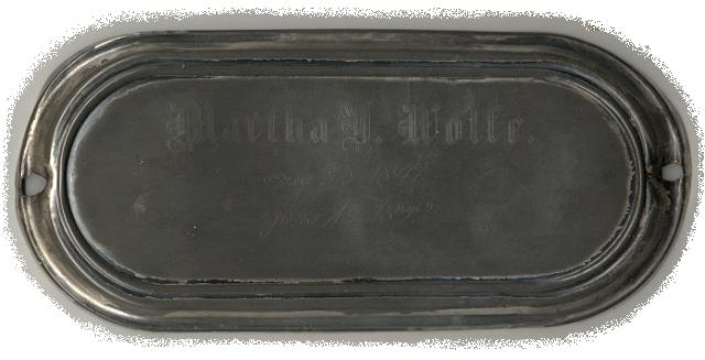 The Free Genealogy Death Record on the Coffin Plate ofMartha D Wolfe 1847 ~ 1892