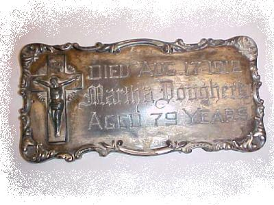 The Free Genealogy Death Record on the Coffin Plate of Martha Dougherty 1833 ~ 1912