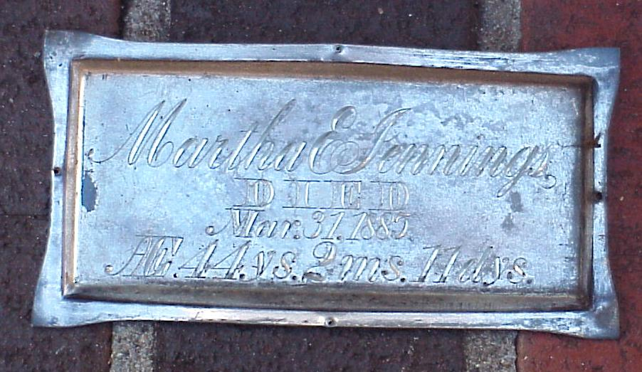 The Free Genealogy Death Record on the Coffin Plate of Martha E Jennings 1841 ~ 1885