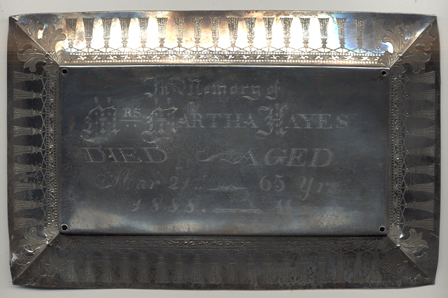 The Free Genealogy Death Record on the Coffin Plate of Martha Hayes 1823 ~ 1888