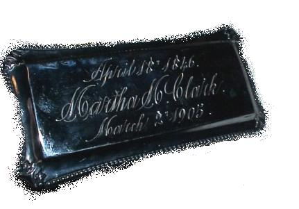 The Free Genealogy Death Record on the Coffin Plate of Martha M Clark 1846 ~ 1905