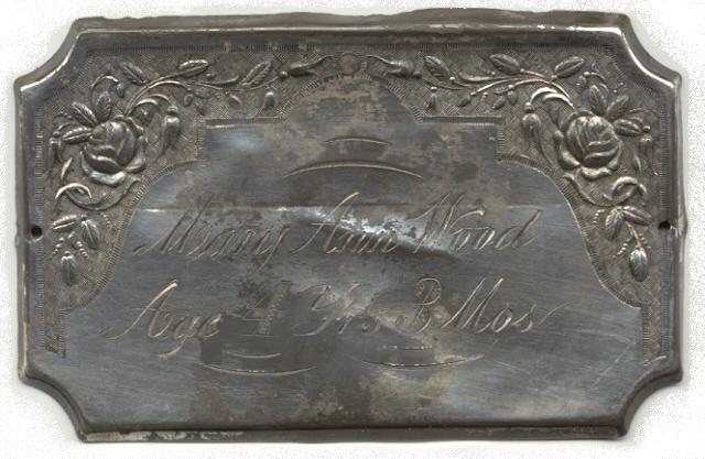 The Free Genealogy Death Record on the Coffin Plate of Mary Ann Wood