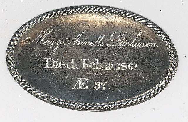 The Free Genealogy Death Record on the Coffin Plate of Mary Annette Dickinson 1824 ~ 1861