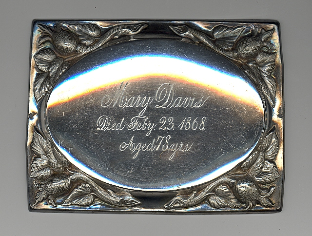 The Free Genealogy Death Record on the Coffin Plate of Mary Davis 1790 ~ 1868
