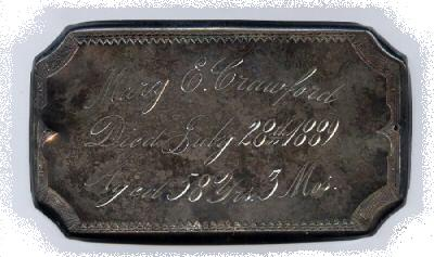 The Free Genealogy Death Record on the Coffin Plate of Mary E Crawford 1831 ~ 1889