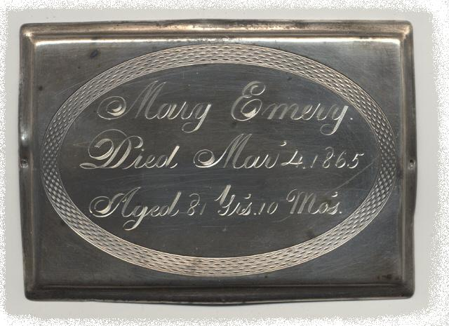 The Free Genealogy Death Record on the Coffin Plate of Mary Emery 1784 ~ 1865