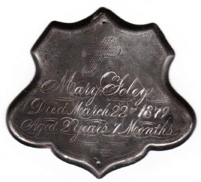 The Free Genealogy Death Record on the Coffin Plate of Mary Foley