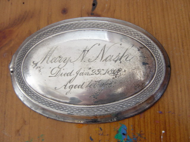 The Free Genealogy Death Record on the Coffin Plate of Mary N Nash 1820 ~ 1867
