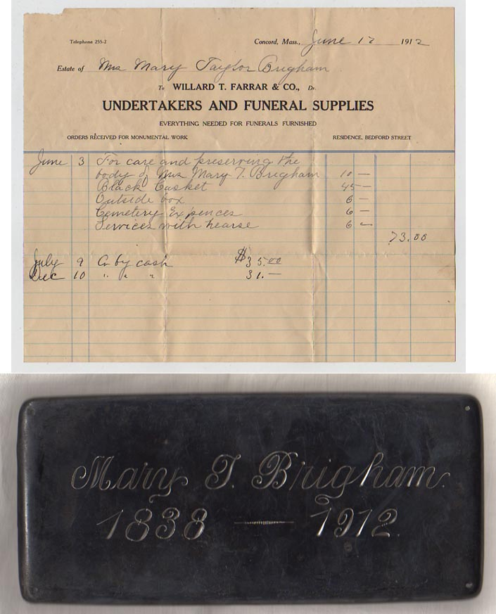 The Free Genealogy Death Record on the Coffin Plate of Mary Taylor Brigham 1828 ~ 1912