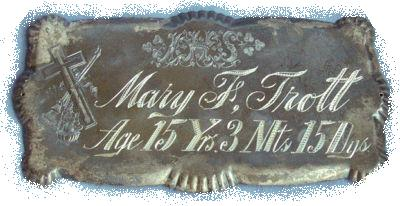 The Free Genealogy Death Record on the Coffin Plate of Mary T Trott
