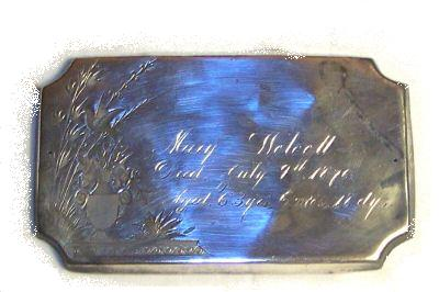 The Free Genealogy Death Record on the Coffin Plate of Mary Wolcott 1813 ~ 1876