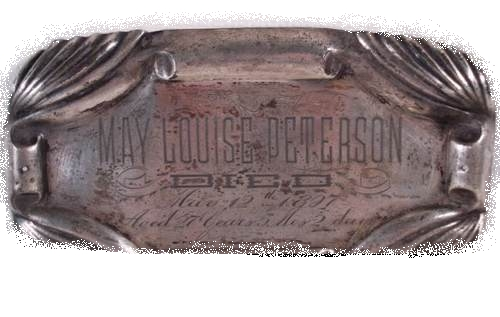 The Free Genealogy Death Record on the Coffin Plate of May Louise Peterson 1870 ~ 1897