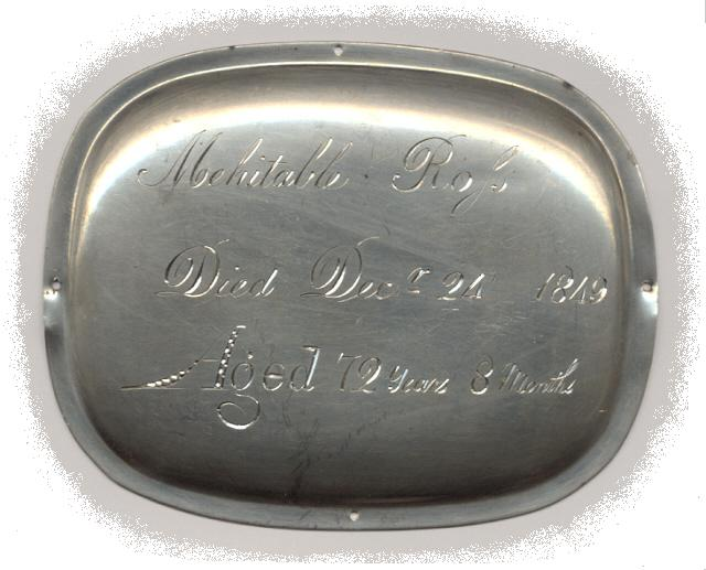 The Free Genealogy Death Record on the Coffin Plate of Mehitable Ross 1777 ~ 1849