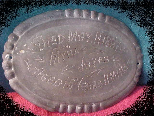 The Free Genealogy Death Record on the Coffin Plate of Myra Joyes 1881 ~ 1897