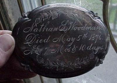 Free Genealogy Death Record on the Coffin Plate of Nathan L Woodman