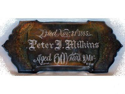 Free Death Records on Coffin Plate of Peter Milkins is Free Genealogy