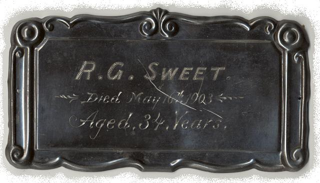 The Free Genealogy Death Record on the Coffin Plate of R.G. Sweet 1869 ~ 1903