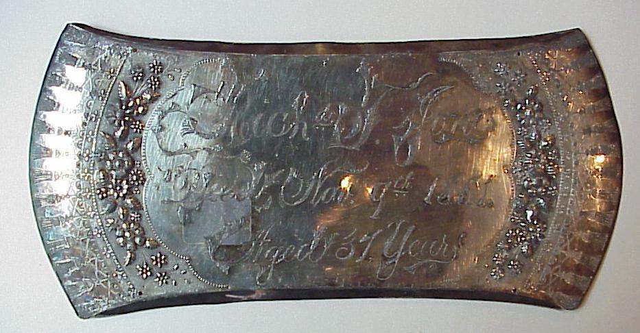 Free Genealogy Death Record on the Coffin Plate of Richard F Jones 1844 ~ 1881