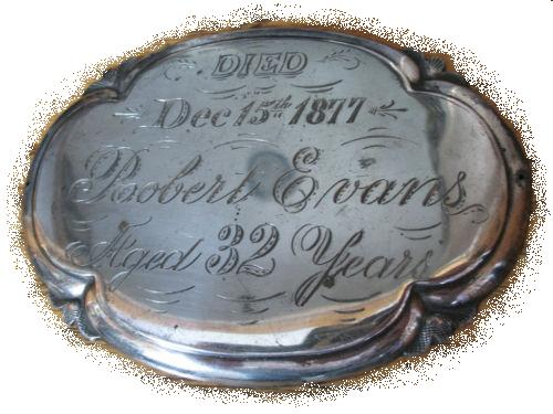 The Free Genealogy Death Record on the Coffin Plate of Robert Evans