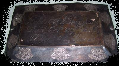 The Free Genealogy Death Record on the Coffin Plate of Roberto A Thompson 1843 ~ 1885