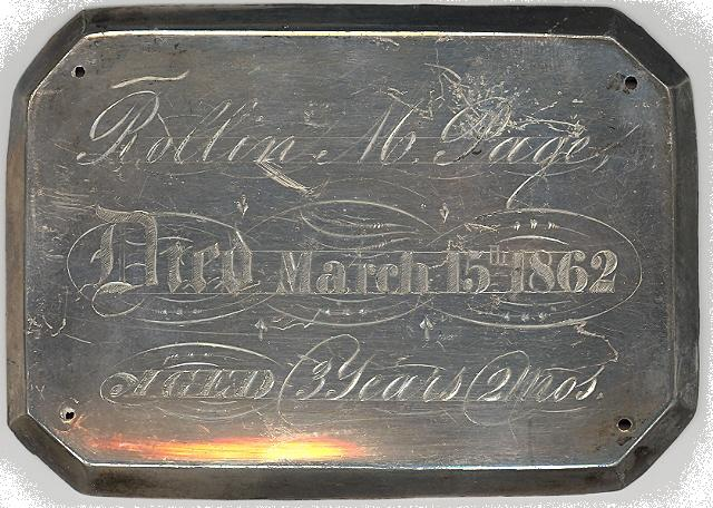 The Free Genealogy Death Record on the Coffin Plate of Rollin M Page 1859 ~ 1862