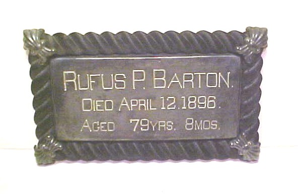 The Free Genealogy Death Record on the Coffin Plate of Rufus P Barton