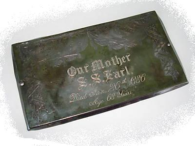 The Free Genealogy Death Record on the Coffin Plate of S.S. Earl 1818 ~ 1886
