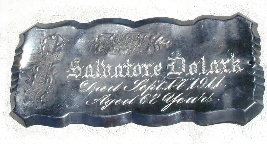 The Free Genealogy Death Record on the Coffin Plate of Salbatore Dolark 1844 ~ 1911 and Mary Dolark 1865 ~ 1913