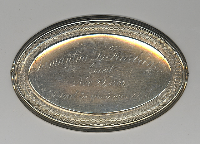 The Free Genealogy Death Record on the Coffin Plate of Samantha L Fairbank 1835 ~ 1866