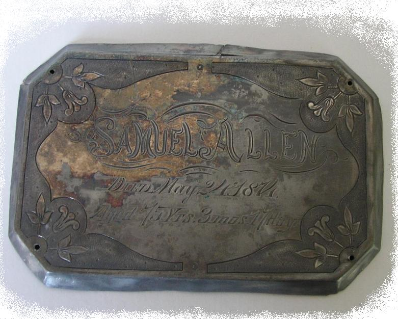 The Free Genealogy Death Record on the Coffin Plate of Samuel Allen 1799 ~ 1874