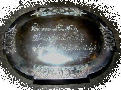 The Free Genealogy Death Record on the Coffin Plate of  Samuel M Fay 1829 ~ 1870