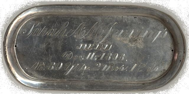The Free Genealogy Death Record on the Coffin Plate of Sarah A. M. Jennings 1809 ~ 1898