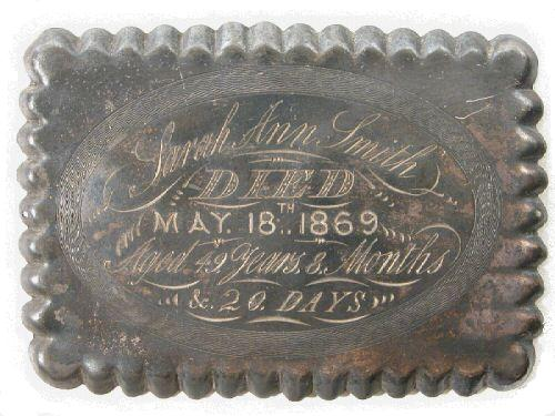 The Free Genealogy Death Record on the Coffin Plate of Sarah Ann Smith 1820~1869