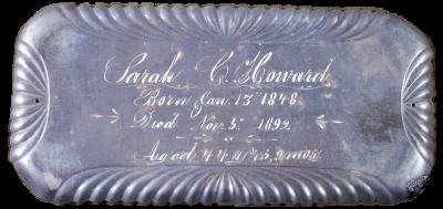 The Free Genealogy Death Record on the Coffin Plate of Sarah C Howard 1848 ~ 1892