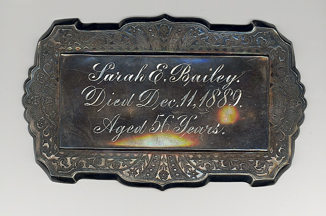 The Free Genealogy Death Record on the Coffin Plate of Sarah E Bailey 1833 ~ 1889
