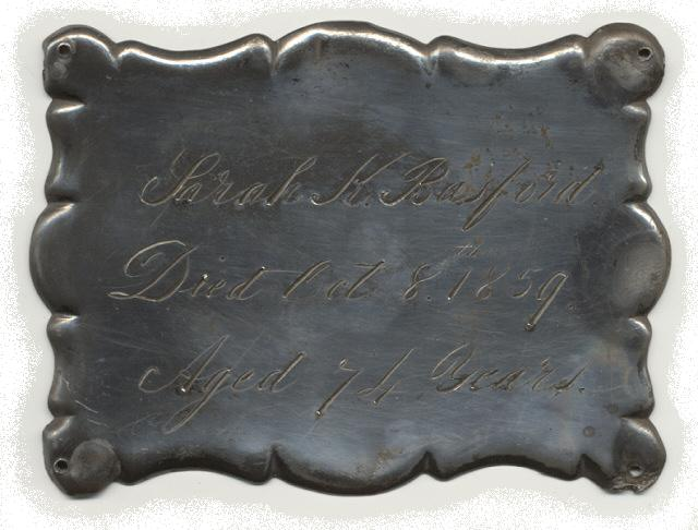 The Free Genealogy Death Record on the Coffin Plate of Sarah K Basford 1785 ~ 1859