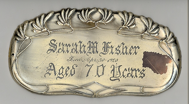 The Free Genealogy Death Record on the Coffin Plate of Sarah M Fisher 1850 ~ 1920