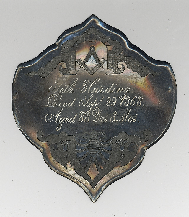 The Free Genealogy Death Record on the Coffin Plate of Seth Harding 1780 ~ 1868