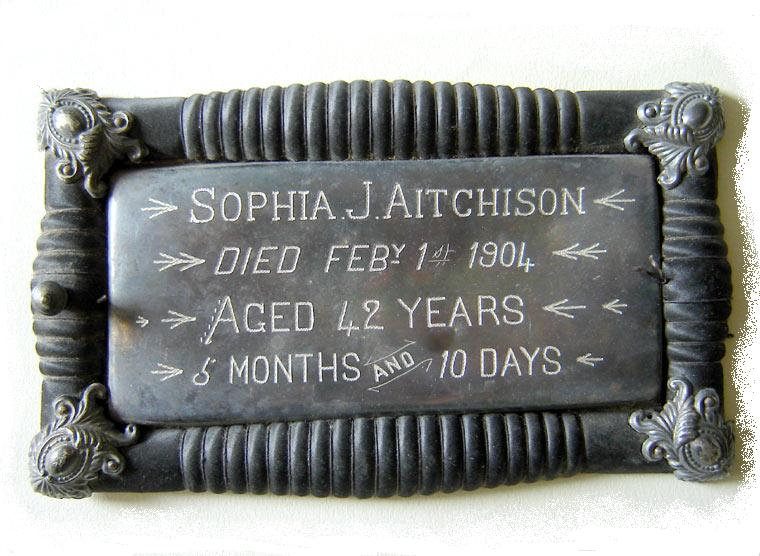 The Free Genealogy Death Record on the Coffin Plate ofSophia J Aitcheson 1862 ~ 1904