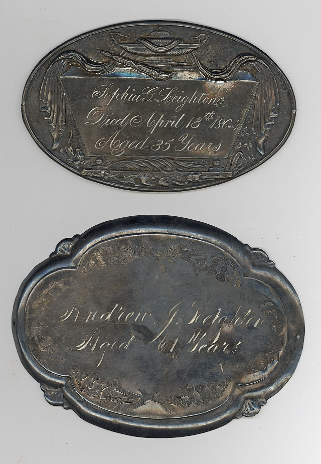 The Free Genealogy Death Record on the Coffin Plates of Sophia G Leightone and Andrew Leighton