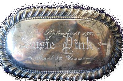 The Free Genealogy Death Record on the Coffin Plate of Susie Pink 1865 ~ 1897