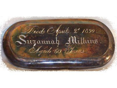Free Death Records on Coffin Plates of Suzannah Milkins is Free Genealogy
