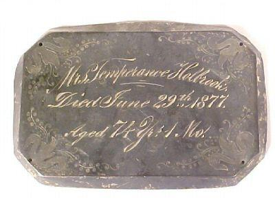 The Free Genealogy Death Record on the Coffin Plate of temperance_holbrook
