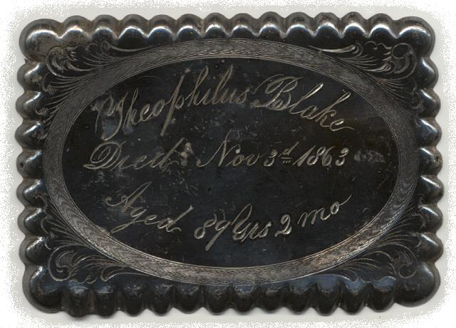 The Free Genealogy Death Record on the Coffin Plate of Theophilus Blake 1774 ~ 1863