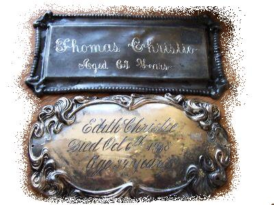 The Free Genealogy Death Record on the Coffin Plate of Thomas Christie and Edith Christie