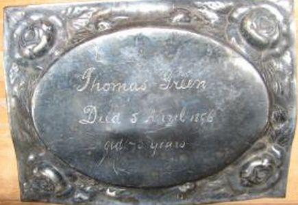 The Free Genealogy Death Record on the Coffin Plate of Thomas Green 1826 ~ 1896